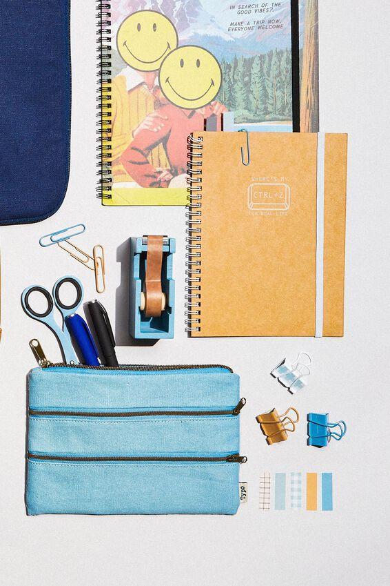 Double Archer Pencil Case, DENIM BLUE CANVAS