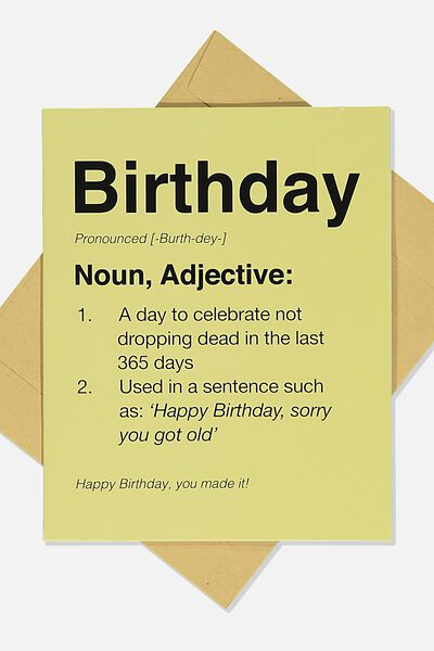 Funny Birthday Card, BIRTHDAY NOUN