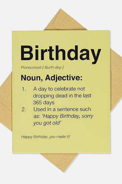 Funny Birthday Card, BIRTHDAY NOUN