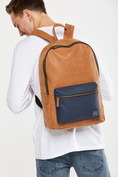 Buffalo Backpack, NAVY & TAN