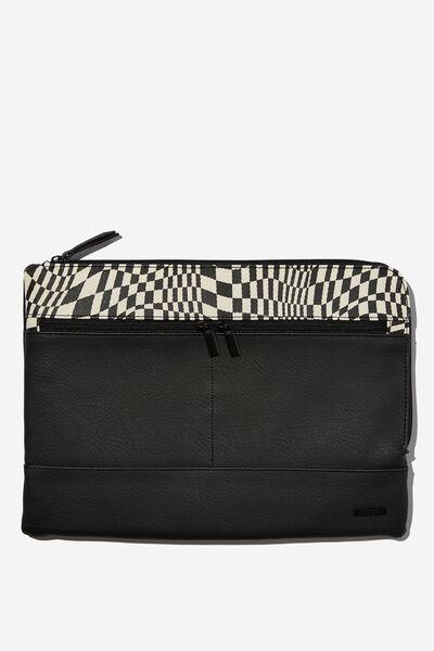 Oxford 13 Inch PU Laptop Case, BLACK WITH WARP CHECKERBOARD BLACK