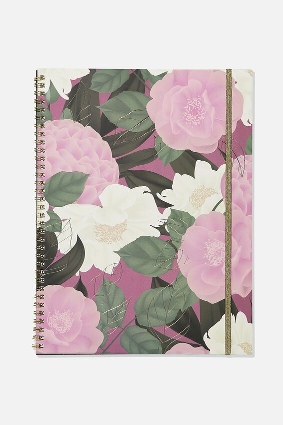 A4 Spinout Notebook Recycled, LILAC FLORAL