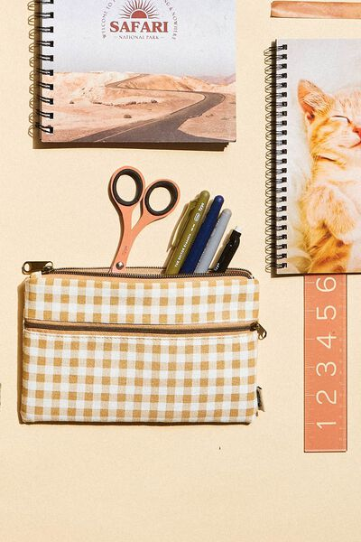 Archer Pencil Case, GINGHAM YELLOW