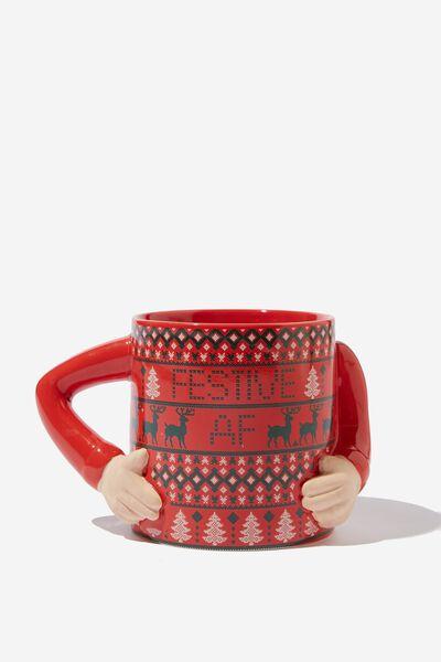 Christmas Novelty Shaped Mug, UGLY SWEATER AF!