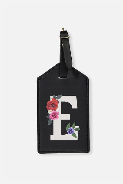 Letter Luggage Tag, BLACK FLORAL E