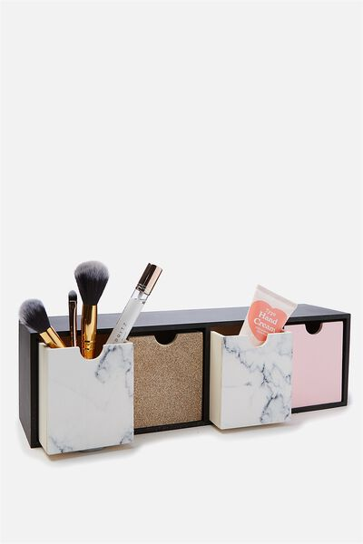 Quick Desk Drawer Storage, MARBLE & ROSE GOLD