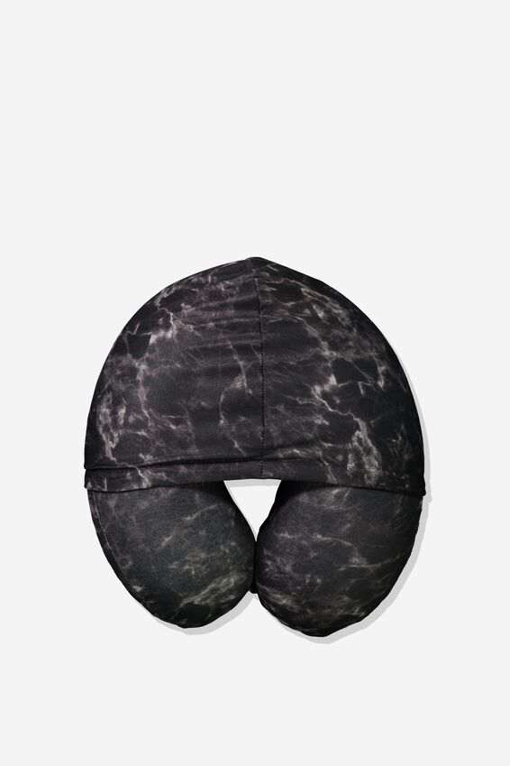Hooded Travel Neck Pillow, BLACK MARBLE