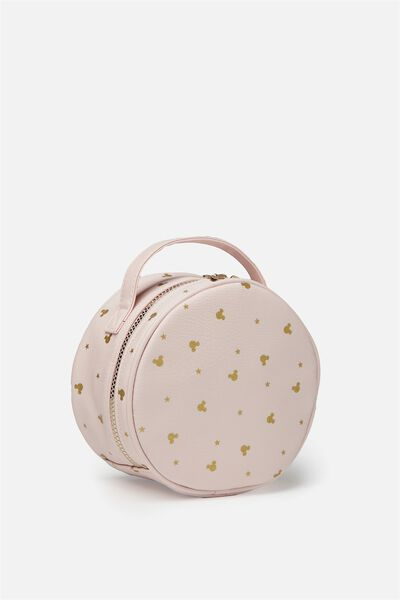 Round Cosmetic Case, LCN BLUSH MICKEY DITSY PRINT