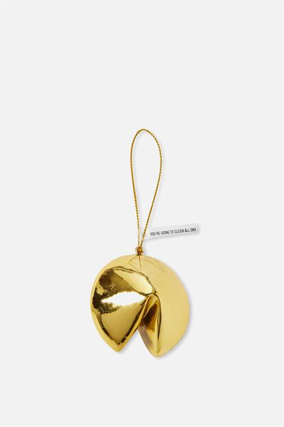 Christmas Ornament, GOLD FORTUNE COOKIE