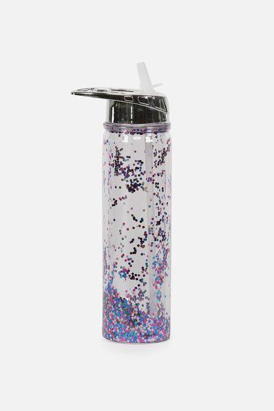 Double Walled Water Bottle, SILVER LID MULTI GLITTER