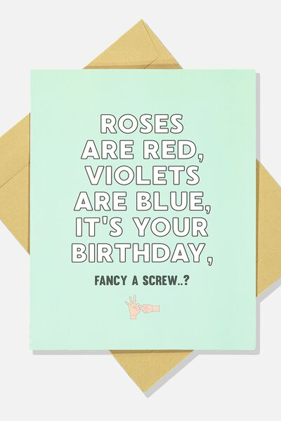 Funny Birthday Card, ROSES ARE RED!
