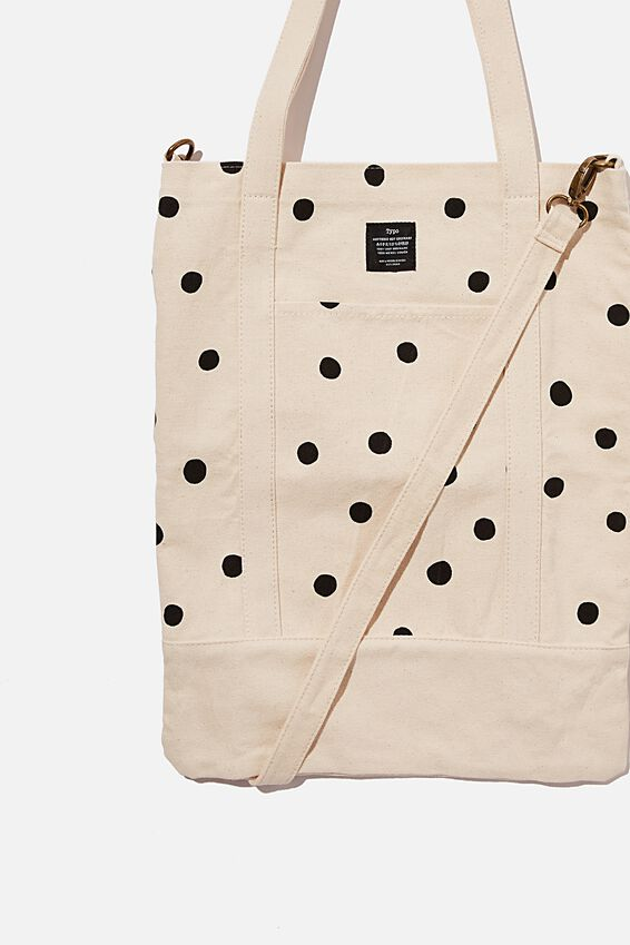 Book Tote Bag, OVERSIZED POLKA