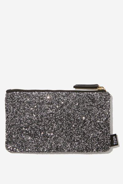 Glitter Pencil Case, BLACK CHUNKY GLITTER