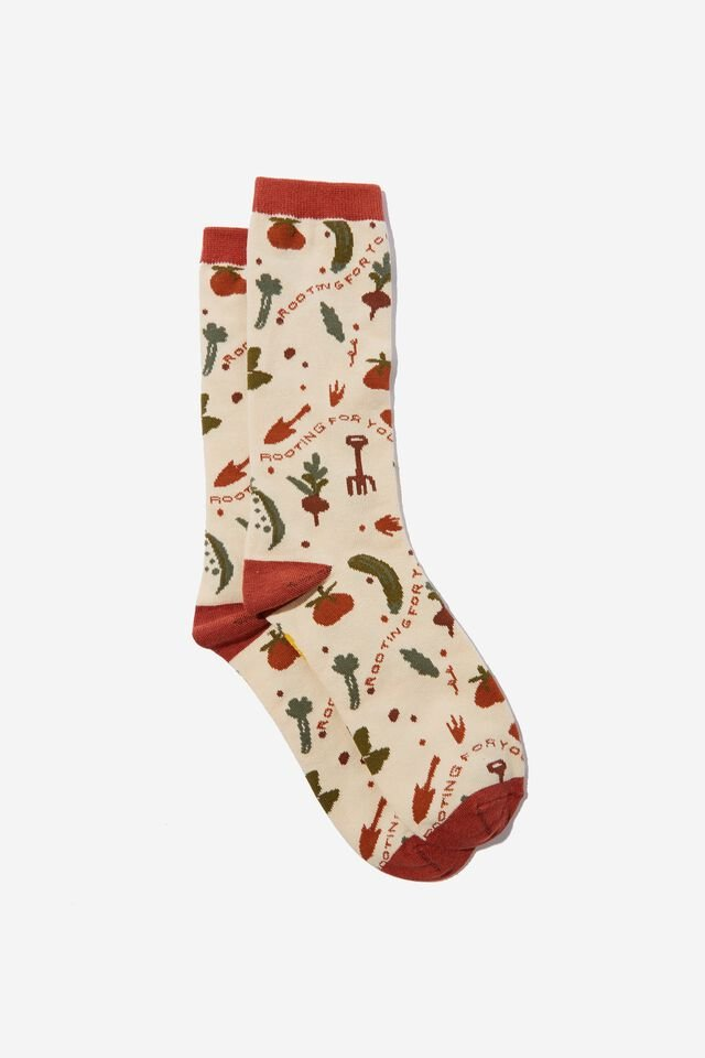 Socks, ROOTING FOR YOU ECRU