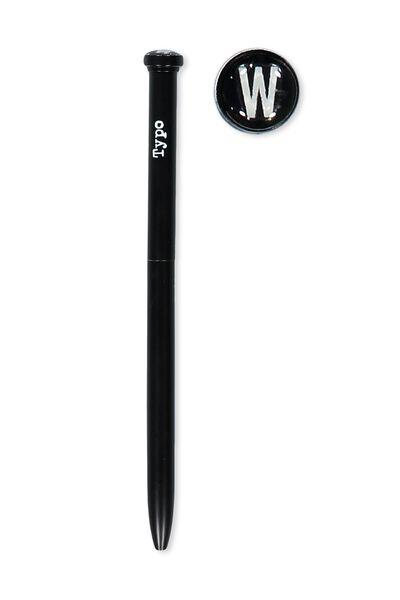 Initial Ballpoint Pen, BLACK W