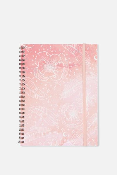 A5 Spinout Notebook - 120 Pages, PEACH WATERCOLOUR FLORAL