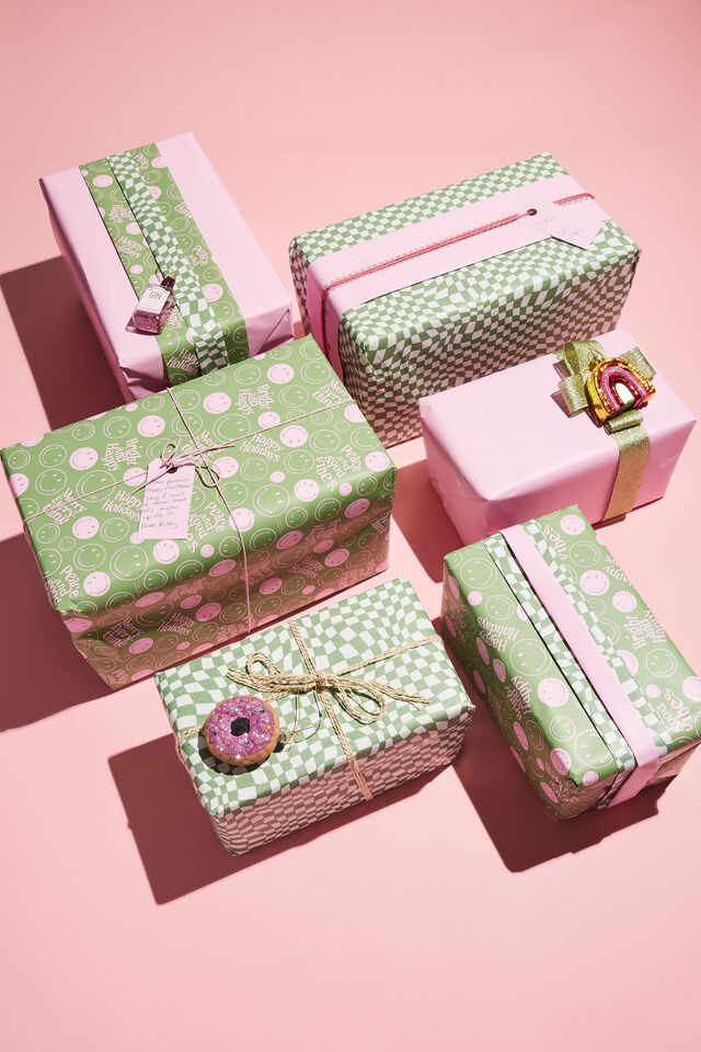 Christmas Wrapping Paper Roll, PINK CANDY