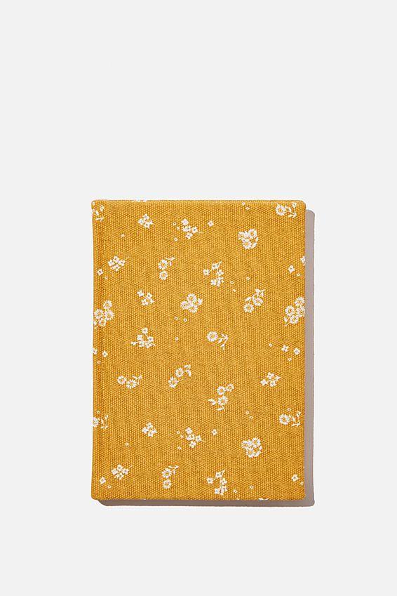 A6 Dot Oxford Notebook, DOTTIE FLORAL MUSTARD