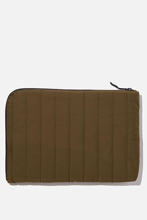 Utility Recycled 13 Inch Laptop Case, KHAKI AND  PAPAYA