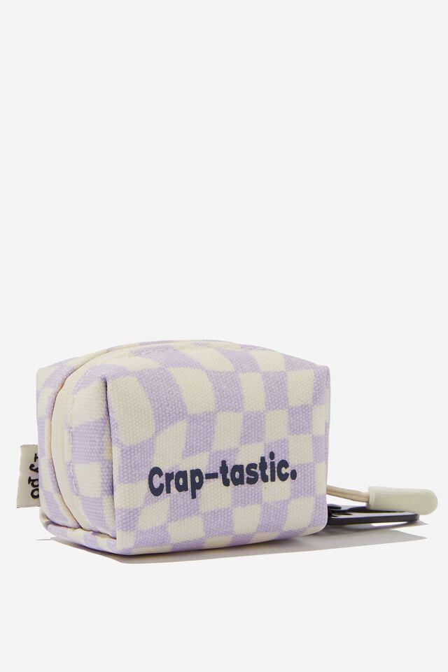 Dog Poop Bag, WARP CHECKERBOARD LILAC CRAPTASTIC