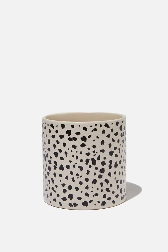 Small Shaped Planter, BLACK & WHITE SPOT