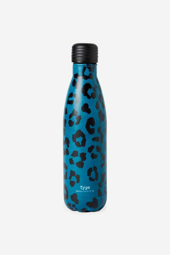 Metal Drink Bottle, TEAL LEOPARD PRINT