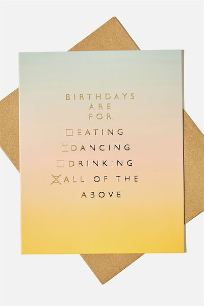 Nice Birthday Card, EATING DANCING DRINKING OMBRE!