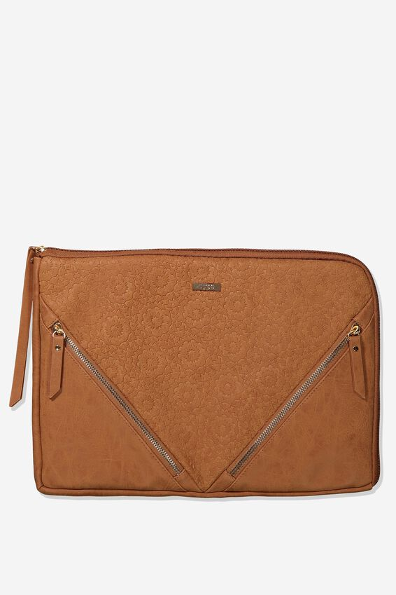 Premium Laptop Case 13 inch, MID TAN TOOLED
