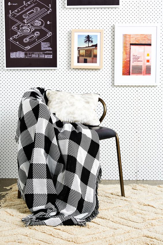 Woven Throw, BLACK & WHITE GINGHAM