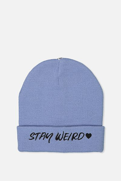 Personalised Beanie, BLUE STAY WEIRD