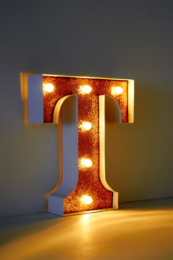 Marquee Letter Lights Premium 6.3inch Midi, WHITE WITH ROSE GOLD T