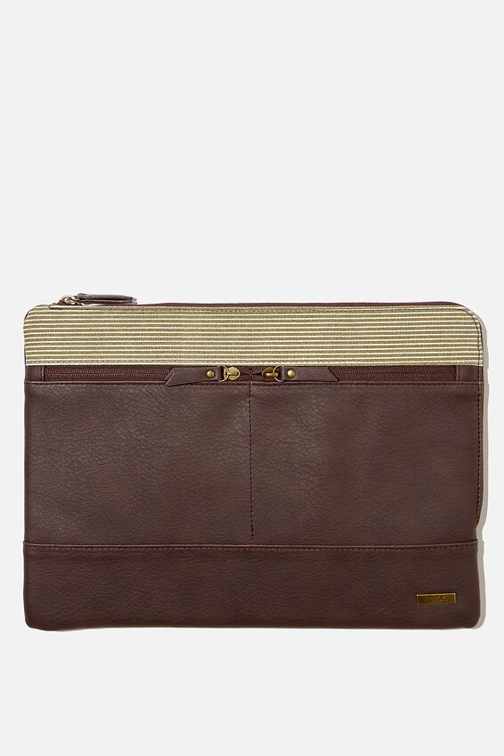 Oxford 13 Laptop Canvas PU Case, BITTER CHOC & KHAKI PINSTRIPE