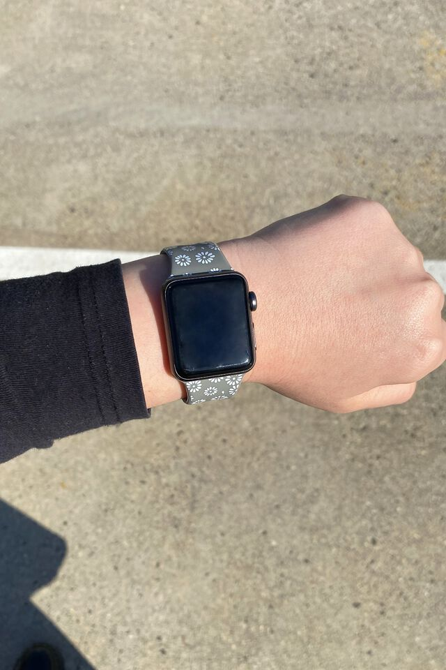 Strapped Watch Strap, STAMPED DAISY GREYSCALE