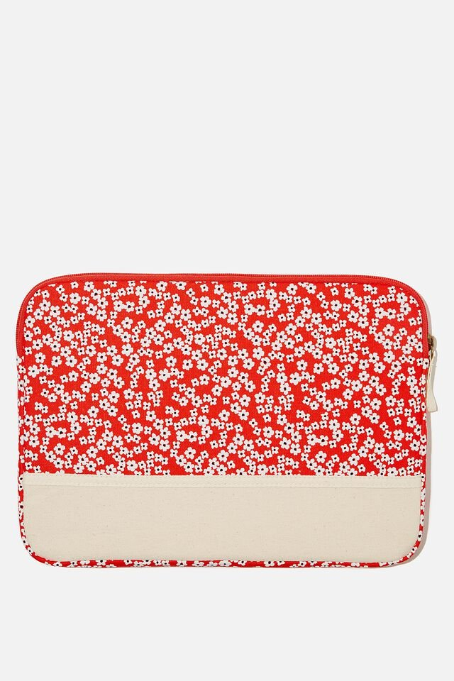 Take Me Away 13 Inch Laptop Case, RG TRUE RED CHERRY BLOSSOM WITH RAW CANVAS SP