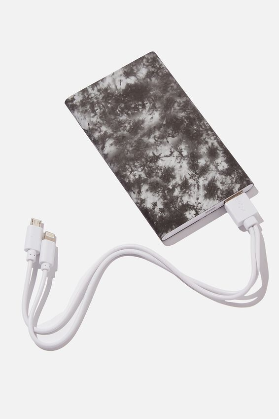 Printed Charge It Charger, BLACK & WHITE TIE DYE