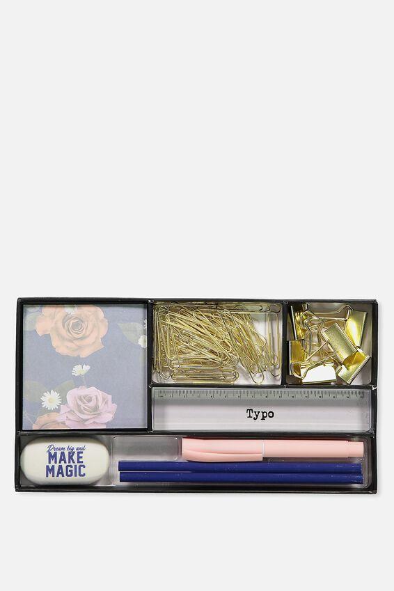 Desk Set, NAVY BLUE FLORAL