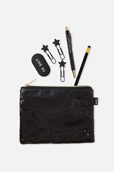 Sequin Band Pencil Case, BLACK