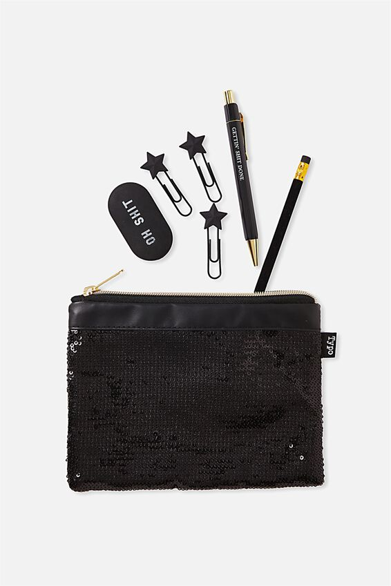 Sequin Band Pencil Case, BLACK
