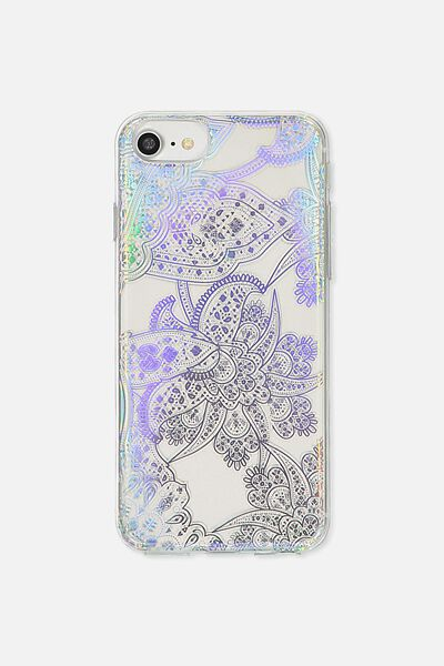 Transparent Phone Cover Universal 6,7,8, IRIDESCENT LACE