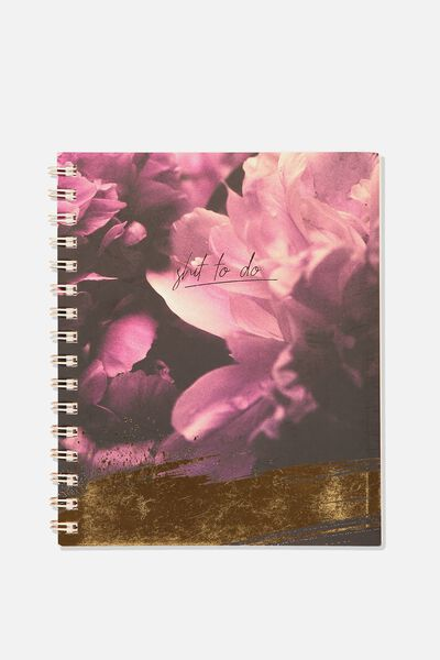 Medium Campus Notebook - 240 Pages, PEONY FLOWER SHIT TO DO!