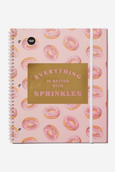 College Ruled Spinout Notebook V, DONUT SPRINKLES