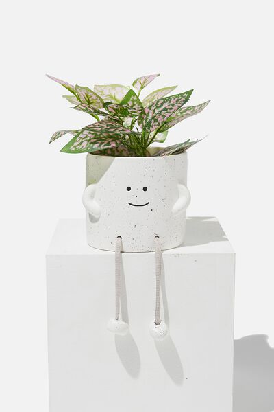 Midi Shaped Planter, WHITE SPECKLE ROPE LEGS