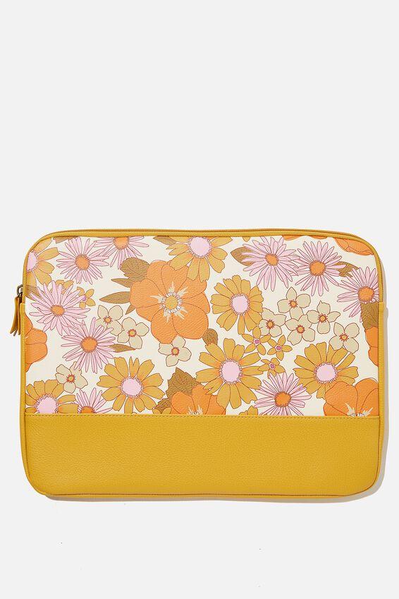 Take Me Away 15 Inch Laptop Case Pu, RG ORANGE & PINK STEVIE FLORAL WITH MUSTARD S