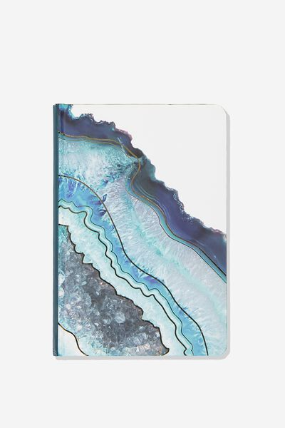 Medium A5 Write Away Journal, TEAL GEODE