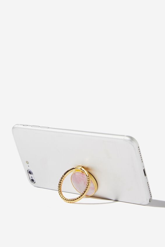 Metal Phone Ring, BLUSH MARBLE STONE