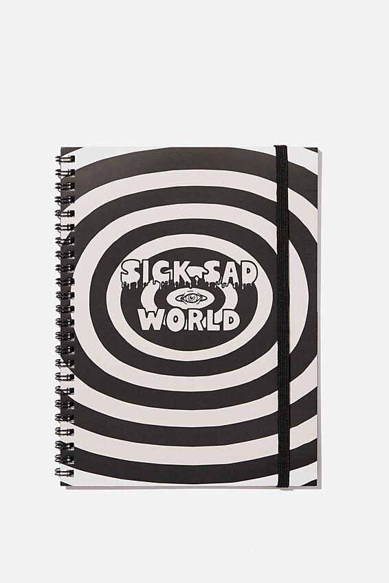 A5 Daria Spinout Notebook Recycled, LCN MTV DA SICK SAD WORLD