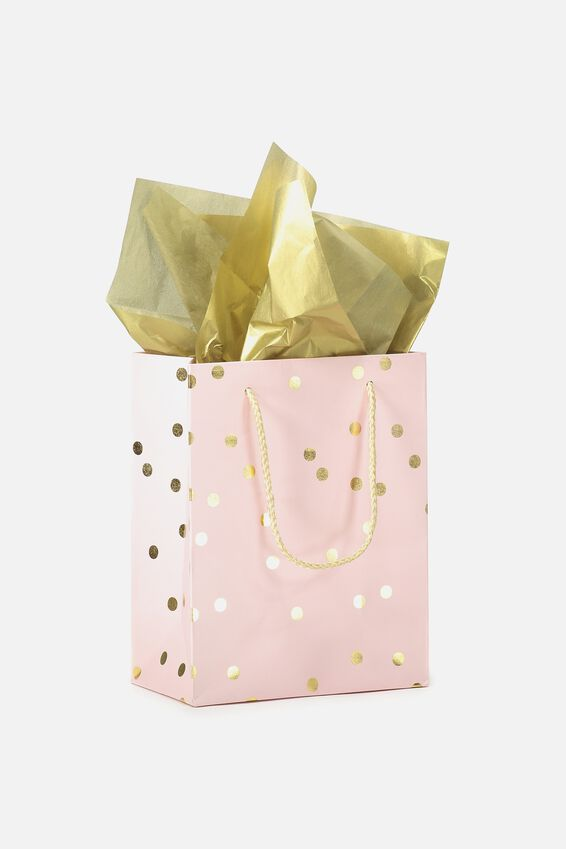Small Gift Bag with Tissue Paper, PEACH GOLD POLKA