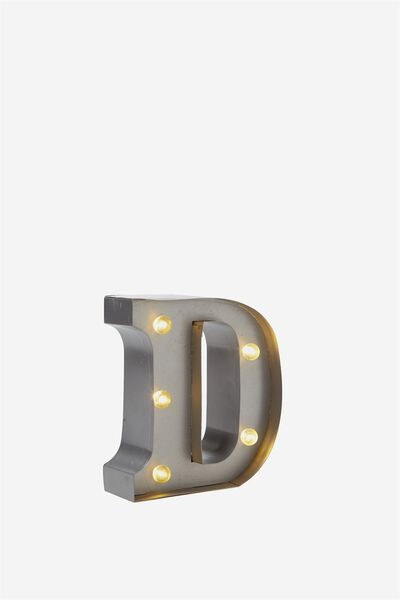 Mini Marquee Letter Lights 10cm, SILVER D