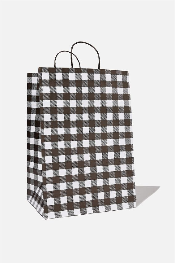 Get Stuffed Gift Bag - Large, BLACK AND WHITE GINGHAM