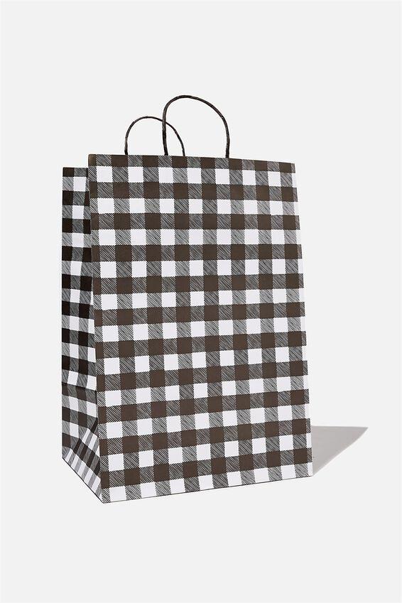 Get Stuffed Gift Bag - Large, BLACK WHITE GINGHAM